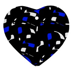 Blue, black and white  pattern Ornament (Heart)