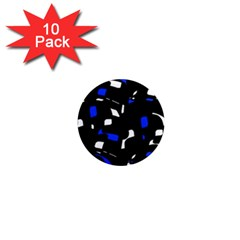 Blue, black and white  pattern 1  Mini Magnet (10 pack)