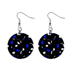 Blue, black and white  pattern Mini Button Earrings