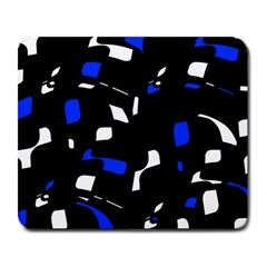 Blue, black and white  pattern Large Mousepads