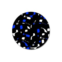 Blue, black and white  pattern Magnet 3  (Round)