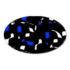 Blue, black and white  pattern Oval Magnet