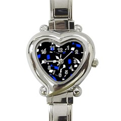 Blue, black and white  pattern Heart Italian Charm Watch