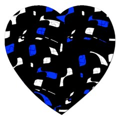 Blue, black and white  pattern Jigsaw Puzzle (Heart)