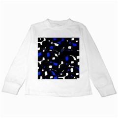 Blue, black and white  pattern Kids Long Sleeve T-Shirts