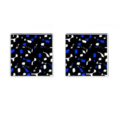 Blue, black and white  pattern Cufflinks (Square)