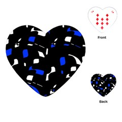 Blue, black and white  pattern Playing Cards (Heart)