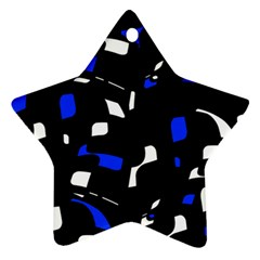 Blue, black and white  pattern Star Ornament (Two Sides)