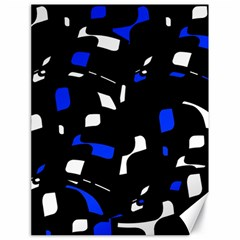 Blue, black and white  pattern Canvas 18  x 24