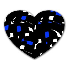 Blue, black and white  pattern Heart Mousepads