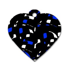 Blue, black and white  pattern Dog Tag Heart (Two Sides)