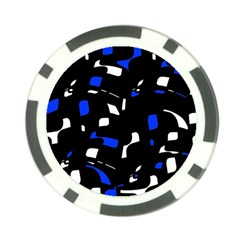 Blue, black and white  pattern Poker Chip Card Guards
