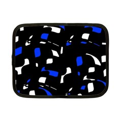Blue, black and white  pattern Netbook Case (Small)