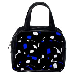 Blue, black and white  pattern Classic Handbags (One Side)