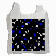 Blue, black and white  pattern Recycle Bag (Two Side)