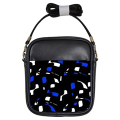 Blue, black and white  pattern Girls Sling Bags