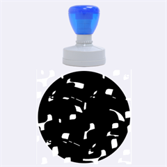 Blue, black and white  pattern Rubber Round Stamps (Large)