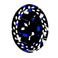 Blue, black and white  pattern Oval Filigree Ornament (2-Side)