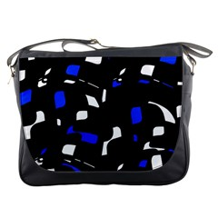 Blue, black and white  pattern Messenger Bags