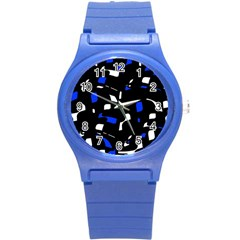 Blue, black and white  pattern Round Plastic Sport Watch (S)
