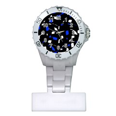 Blue, black and white  pattern Plastic Nurses Watch