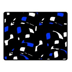 Blue, black and white  pattern Double Sided Fleece Blanket (Small)