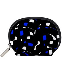 Blue, black and white  pattern Accessory Pouches (Small)