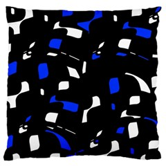 Blue, black and white  pattern Large Flano Cushion Case (Two Sides)