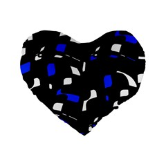 Blue, black and white  pattern Standard 16  Premium Flano Heart Shape Cushions
