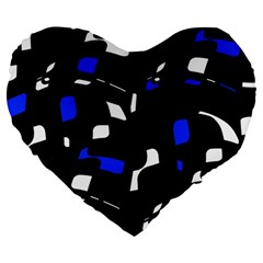 Blue, black and white  pattern Large 19  Premium Flano Heart Shape Cushions
