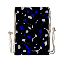 Blue, black and white  pattern Drawstring Bag (Small)