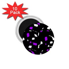 Purple, black and white pattern 1.75  Magnets (10 pack)