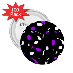 Purple, black and white pattern 2.25  Buttons (100 pack)