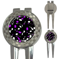 Purple, black and white pattern 3-in-1 Golf Divots