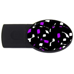 Purple, black and white pattern USB Flash Drive Oval (2 GB)
