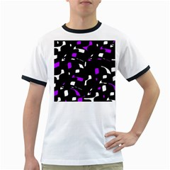 Purple, black and white pattern Ringer T-Shirts