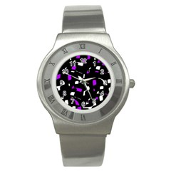 Purple, black and white pattern Stainless Steel Watch