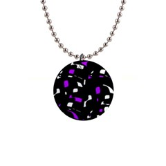 Purple, black and white pattern Button Necklaces