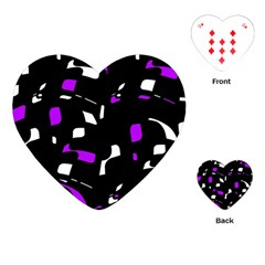Purple, black and white pattern Playing Cards (Heart)