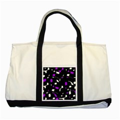 Purple, black and white pattern Two Tone Tote Bag