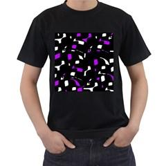 Purple, black and white pattern Men s T-Shirt (Black)