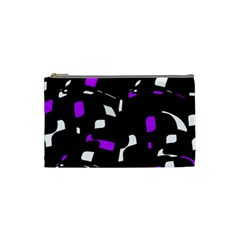 Purple, black and white pattern Cosmetic Bag (Small)