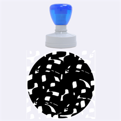 Purple, black and white pattern Rubber Round Stamps (Large)