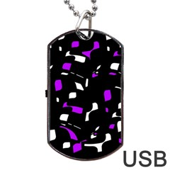 Purple, black and white pattern Dog Tag USB Flash (One Side)