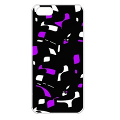 Purple, black and white pattern Apple iPhone 5 Seamless Case (White)