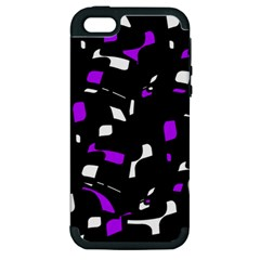 Purple, black and white pattern Apple iPhone 5 Hardshell Case (PC+Silicone)