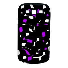 Purple, black and white pattern Samsung Galaxy S III Classic Hardshell Case (PC+Silicone)