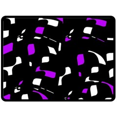Purple, black and white pattern Double Sided Fleece Blanket (Large)