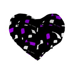 Purple, black and white pattern Standard 16  Premium Flano Heart Shape Cushions