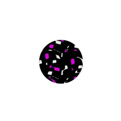Magenta, black and white pattern 1  Mini Buttons